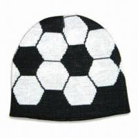 China Mens' Knitted Sports Hat in Soccer Ball Pattern, Made of Acrylic, Various Designs are Available on sale