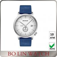 Chrono Dial Navy Blue Leather Mens Watches , Silver Case Real Leather Watch Manufactures
