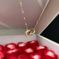 Buy cheap Girl's Real Gold Designer Jewellery Collection , CZ Double Ring Pendant Chain from wholesalers