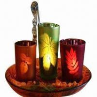Candle Holder Gift Set with Decorated Glass Plate Manufactures