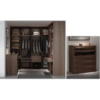 Custom Furniture Walnut wood Built Walk in Wardrobe Closet with Cloth display racks and Storage Cabinets Manufactures
