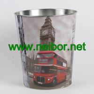 China London Bus big ben telephone booth design metal tin storage bucket storage container on sale