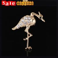 Golden Crystal Red-crowned Crane Brooch,Cute Metal Bird Brooch Wholesale ,Animal Shaped Manufactures