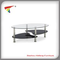 China Oval clear glass coffee table liveing room furniture on sale