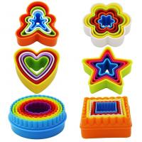 Plastic Multi-size set of 6 Multi-color Two-sided Round Cookie Biscuit Sandwich Fondant Cutter Set Manufactures