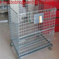 Quality Fold Steel Metal Wire Mesh Storage Cage Container With Wheels/folding logistic wire mesh storage cages/container for sale