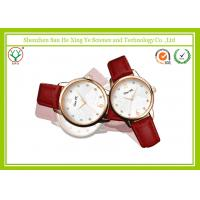 Bright-coloured Red Leather Strap Watch , Flower Dial Stainless Steel Watch Manufactures