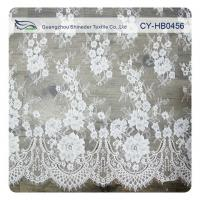 Wedding Floral Eyelash Lace Trim , Eyelash Lace Fabric Wholesale UL Tested Manufactures