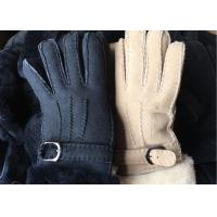 Black Thick Fur Warmest Sheepskin Gloves With Lambswool Lining Waterproof Manufactures