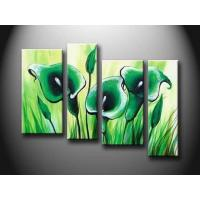 Green Flower Set New Design Handmade Oil Painting On Wood Board, Canvas board hht1052 Manufactures
