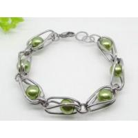 Unisex Stainless Steel Charm Bracelets with grey green Pearls for Party Manufactures