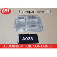 Food Grade Aluminium Foil Takeaway Food Containers 3 Compartments 650ml Volume A033 Manufactures