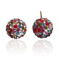 Fashion Shamballa 10mm Silver Round Ball Pave Beads Crystal Stud Earrings Manufactures