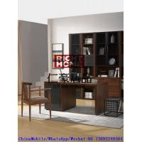 2016 New Nordic Design Study room Furniture by Walnut wood Office Desk with Armchair and in Wall Bookcase Cabinet Manufactures