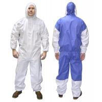 Cat 3 Type 5/6 Microporous Combines SMS Disposable Coverall Suit Asbestos Hooded Coverall Manufactures