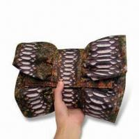 Butterfly-shaped Clutch, Made of Python Snake Skin with Sheep Leather Lining Manufactures