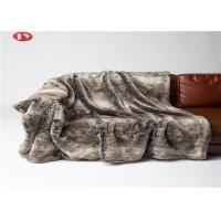 China Sofa Couch Faux Fur Blanket Brown Chinchilla Mink Stripes Premium Bedding Throws on sale