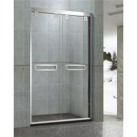 Mirror Finished Double sliding Glass Shower Doors With Stainless Double square Handles Manufactures