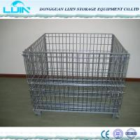 Quality Grey Foldable Wire Mesh Cages For Workshop Pallet Metal Crate Front Drop Gate for sale