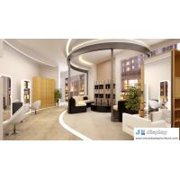 China Hair salon furniture by white mirror stand and barber's chair with leisure sofa in black leather on sale