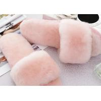 China Open Toe Soft Sole Sheep Wool Slippers Durable With Fur Lining / 34-43 Euro Sizes on sale