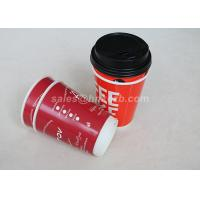 Red Double Wall To Go Custom Disposable Coffee Cups With Black Lid Manufactures