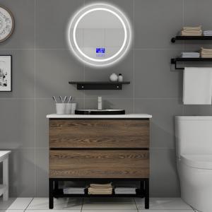 China 100 Inch Modern Sink Vanity , Touch - Type Round Mirror Modern Bath Vanity on sale