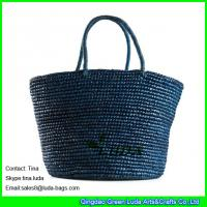 China LUDA navy blue handbags expensive raffia bags crochet straw handbags on sale