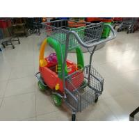 Powder Coating Plastic Basket Cartoon Kids Shopping Carts with PU Wheel Manufactures