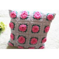 China Wholesale Beautiful Handmade Flower Shape Crochet Pillow on sale