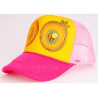 Cute Mesh Snapback Trucker Hat Colorful Cotton Mesh Adjustable 56 - 60cm Manufactures