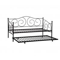 China Heavy Duty Black Iron Trundle Bed , Twin Daybed Frame Smooth Finish Edges on sale