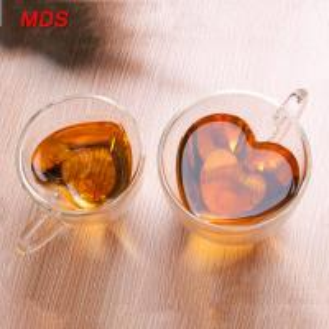 China Heart shaped transparent double layer glass tea coffee cup mug on sale