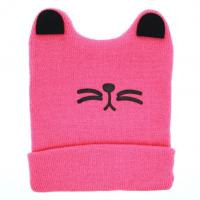 China Boys Girls Cat Ear Lovely Baby Hats , Woolen Yarn Knit Keep Warm Hats Soft Material on sale