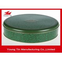 Embossed Round Cookie Gift Tins Glossy Varnish