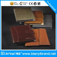 China PU leather loose-leaf notebook with zipper, leather notebook folder, with card holder and on sale
