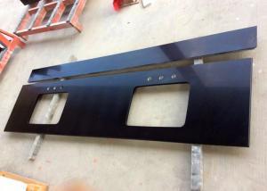 Pure Black Quartz Kitchen Countertops , Artificial Quartz Stone Tiles 3/4 Inch Thick Manufactures