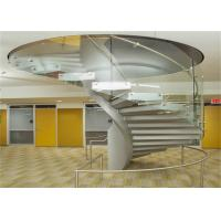 China Oudoor / Indoor Building Curved Stairs Tempered Glass Railing With Double Stringer on sale