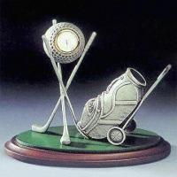 Classic Desktop Metal Premium Set in Golf Design, Includes Clock and Pen Holder Manufactures