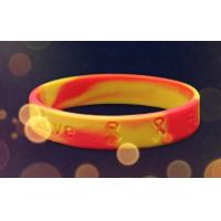 Embossed Printed Silicone Wristbands With Colour Mixture , Customizable Silicone Bracelets