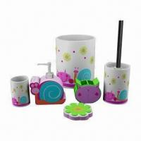 China Hand-painted Polyresin Bath Accessory Set on sale