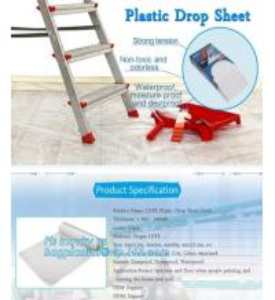 HDPE protective plastic Drop sheet Drop cloth Paint dust sheet, 3.7*3.7m PE Plastic Drop Sheet, painter dust sheetS, PAC Manufactures