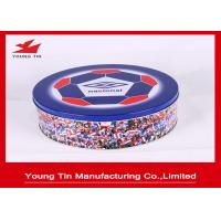 Round CMYK Artwork Printed Cookie Gift Tins , Metal Tinplate Personalized Cookie Containers Manufactures