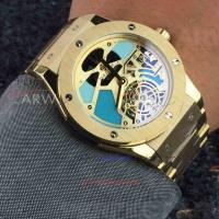 Perfect Replica Hublot Yellow Gold Bezel Hollow Tourbillon Dial 45mm Watch Manufactures