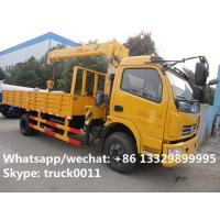China Dongfeng duolika 4*2 LHD 4 ton  military xcmg small truck crane for sale, best price 4tons 120hp truck mounted crane on sale