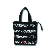 Fashionable Cotton Canvas Tote Bag / Canvas Tote Handbag With Printed City Name Manufactures