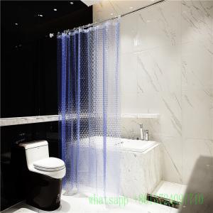 6 guage blue waterproof  3d peva shower curtain with anti rust grommet hooks