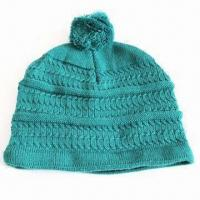 Women's Acrylic Knitted Hat in Fashionable Style, with Jacquard Pattern and Pom Manufactures