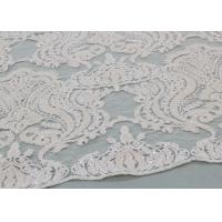 Ivory Sequin Lace Fabrics , Embroidered Bridal Lace Fabrics For Wedding Dresses Manufactures