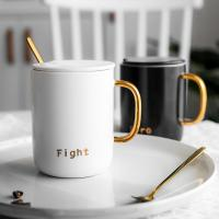 Nordic breakfast cup ceramic simple coffee cup with lid spoon large capacity office couple mug Manufactures
